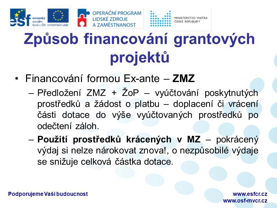 Způsob financování grantových projektů Financování formou Ex-ante – ZMZ –Předložení ZMZ + ŽoP – vyúčtování poskytnutých prostředků a žádost o platbu – doplacení či vrácení části dotace do výše vyúčtovaných prostředků po odečtení záloh.
