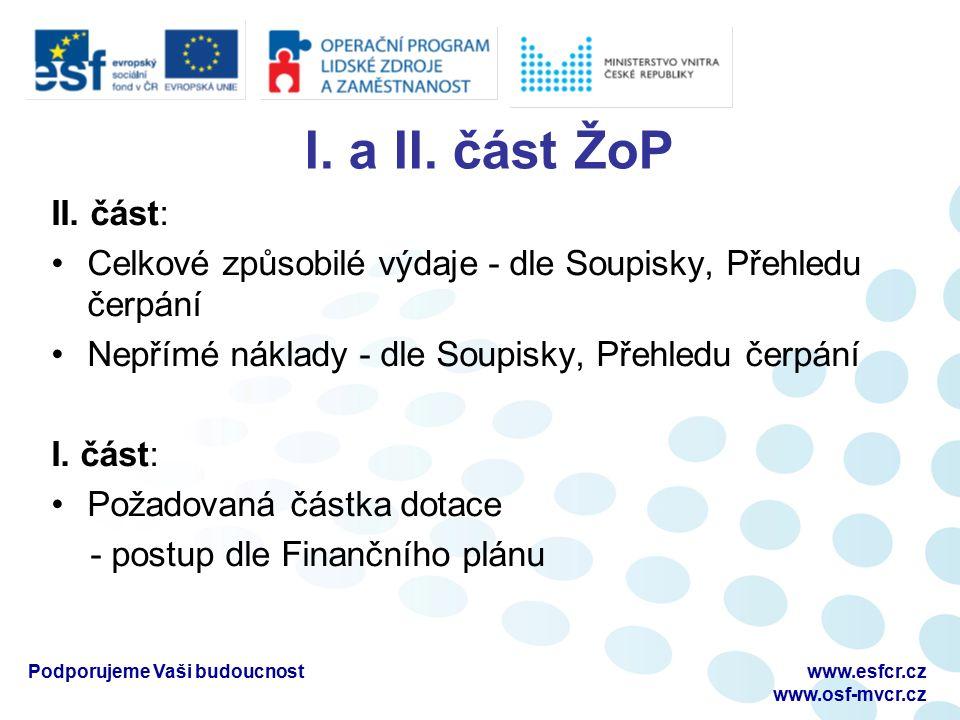 I. a II. část ŽoP II. část: Celkové způsobilé výdaje - dle Soupisky, Přehledu čerpání Nepřímé náklady - dle Soupisky, Přehledu čerpání I. část: Požado