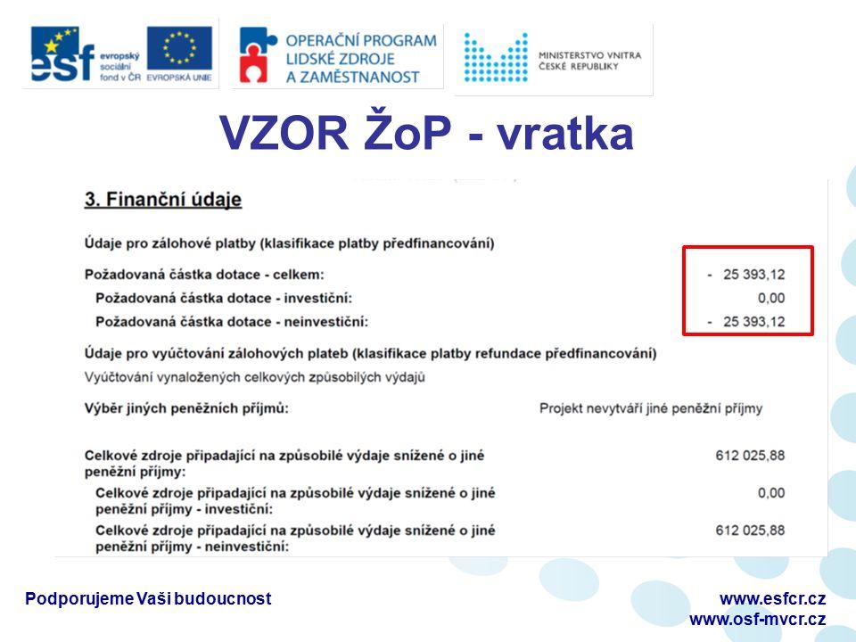 VZOR ŽoP - vratka Podporujeme Vaši budoucnostwww.esfcr.cz www.osf-mvcr.cz