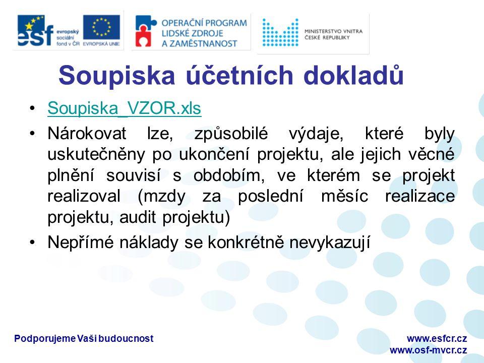 Soupiska účetních dokladů Soupiska_VZOR.xls Nárokovat lze, způsobilé výdaje, které byly uskutečněny po ukončení projektu, ale jejich věcné plnění souvisí s obdobím, ve kterém se projekt realizoval (mzdy za poslední měsíc realizace projektu, audit projektu) Nepřímé náklady se konkrétně nevykazují Podporujeme Vaši budoucnostwww.esfcr.cz www.osf-mvcr.cz