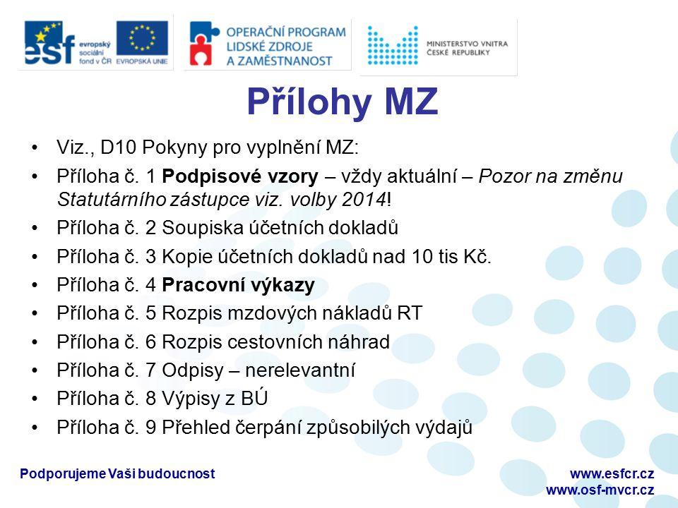 Přílohy MZ Viz., D10 Pokyny pro vyplnění MZ: Příloha č. 1 Podpisové vzory – vždy aktuální – Pozor na změnu Statutárního zástupce viz. volby 2014! Příl
