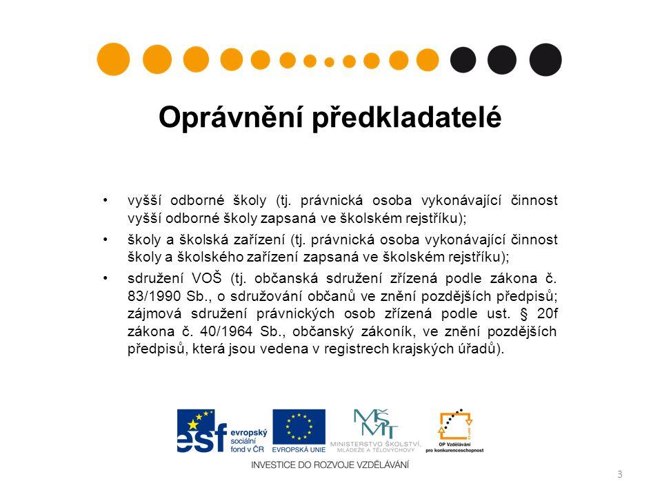 Oprávnění předkladatelé vyšší odborné školy (tj.