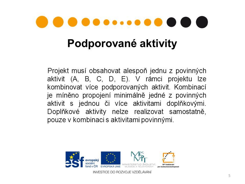 Podporované aktivity Projekt musí obsahovat alespoň jednu z povinných aktivit (A, B, C, D, E).