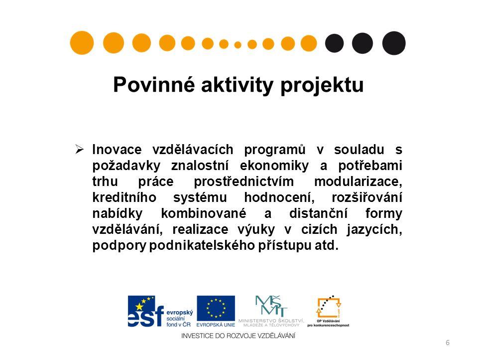 Povinné aktivity projektu  Inovace vzdělávacích programů v souladu s požadavky znalostní ekonomiky a potřebami trhu práce prostřednictvím modularizace, kreditního systému hodnocení, rozšiřování nabídky kombinované a distanční formy vzdělávání, realizace výuky v cizích jazycích, podpory podnikatelského přístupu atd.