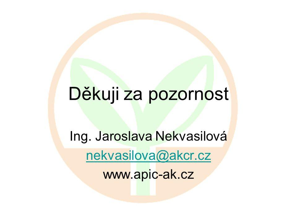 Děkuji za pozornost Ing. Jaroslava Nekvasilová nekvasilova@akcr.cz www.apic-ak.cz