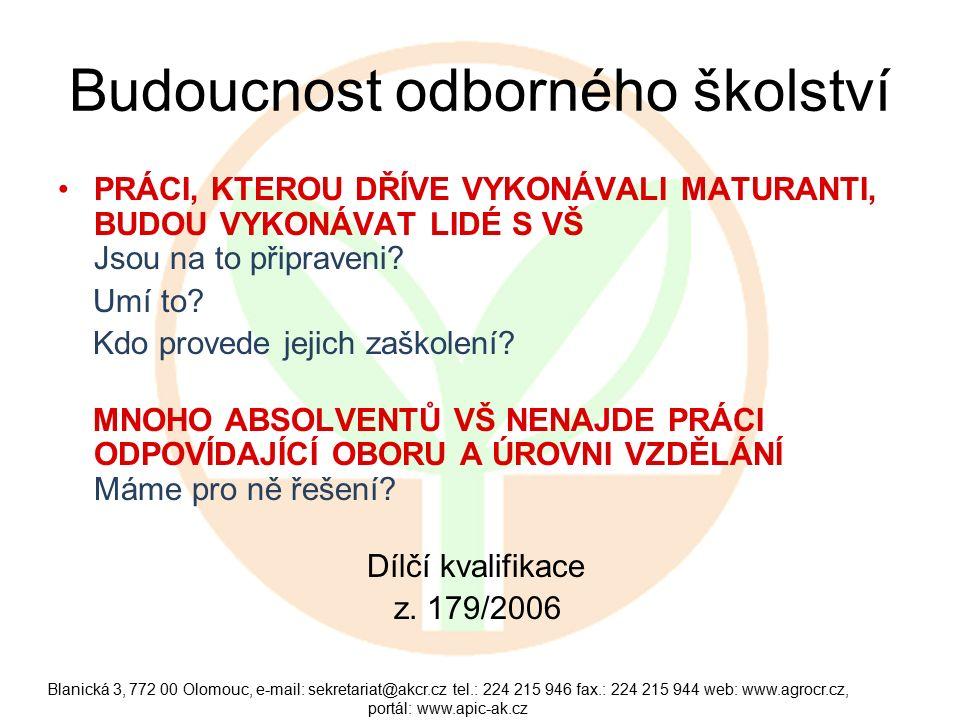 Blanická 3, 772 00 Olomouc, e-mail: sekretariat@akcr.cz tel.: 224 215 946 fax.: 224 215 944 web: www.agrocr.cz, portál: www.apic-ak.cz Budoucnost odborného školství PRÁCI, KTEROU DŘÍVE VYKONÁVALI MATURANTI, BUDOU VYKONÁVAT LIDÉ S VŠ Jsou na to připraveni.