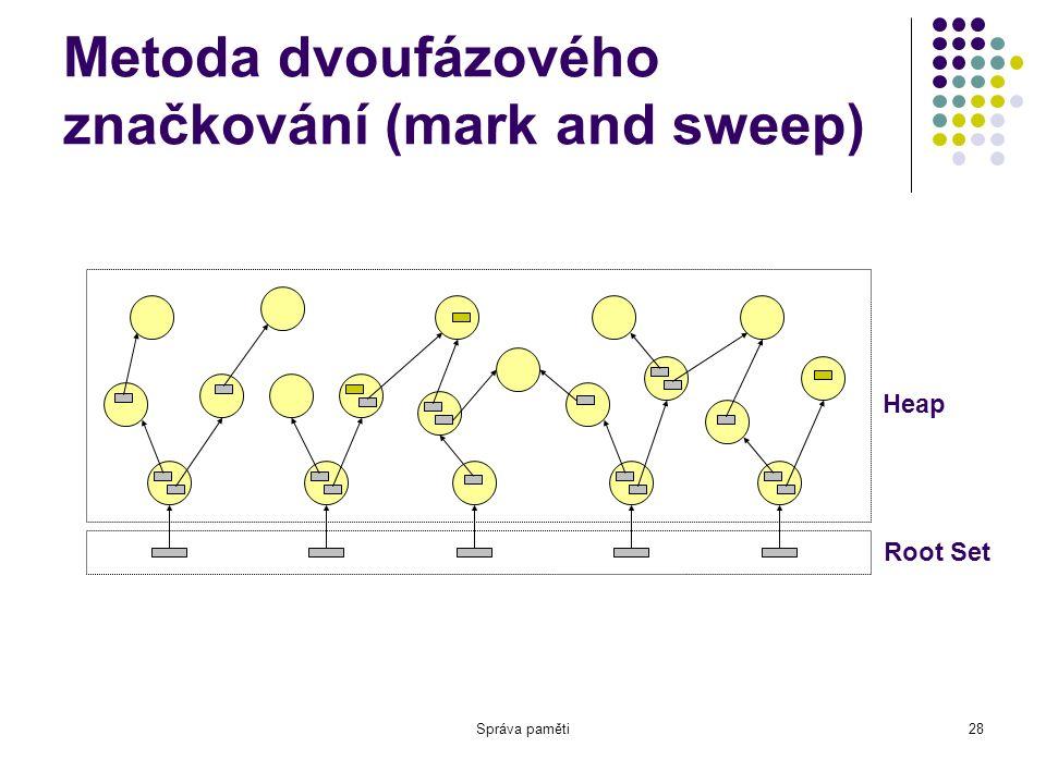Správa paměti28 Metoda dvoufázového značkování (mark and sweep) Root Set Heap