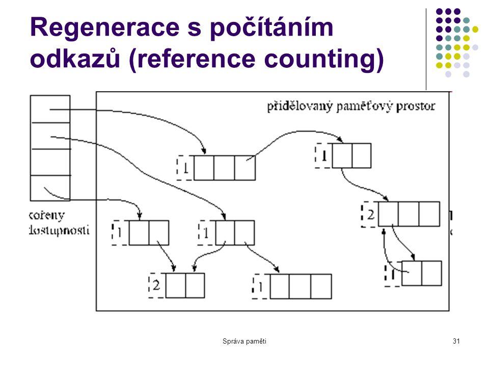 Správa paměti31 Regenerace s počítáním odkazů (reference counting)