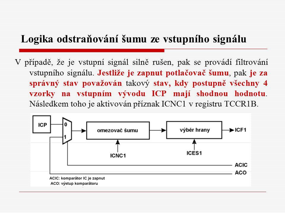 Logika odstraňování šumu ze vstupního signálu V případě, že je vstupní signál silně rušen, pak se provádí filtrování vstupního signálu.