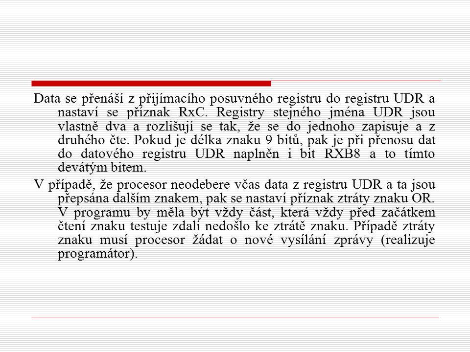 Data se přenáší z přijímacího posuvného registru do registru UDR a nastaví se příznak RxC.