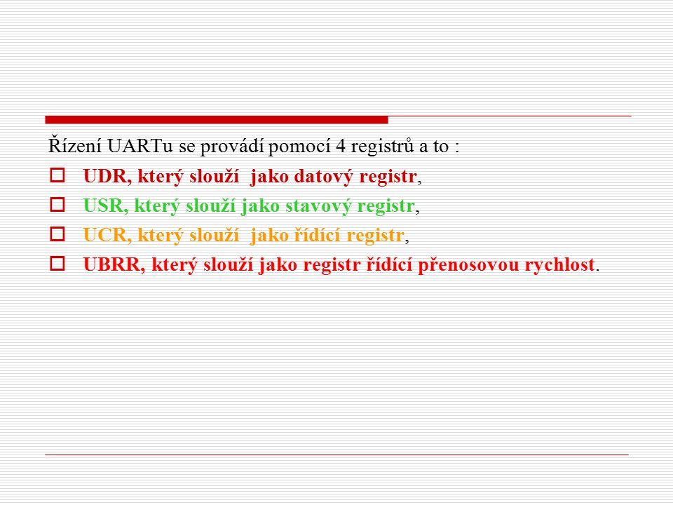 Řízení UARTu se provádí pomocí 4 registrů a to :  UDR, který slouží jako datový registr,  USR, který slouží jako stavový registr,  UCR, který slouží jako řídící registr,  UBRR, který slouží jako registr řídící přenosovou rychlost.