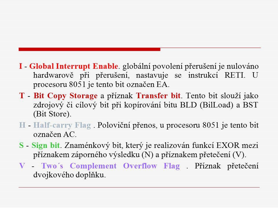 I - Global Interrupt Enable. globální povolení přerušení je nulováno hardwarově při přerušení, nastavuje se instrukcí RETI. U procesoru 8051 je tento