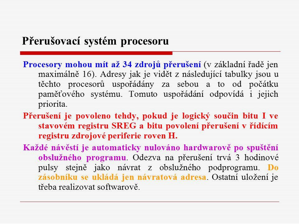 Přerušovací systém procesoru Procesory mohou mít až 34 zdrojů přerušení (v základní řadě jen maximálně 16).