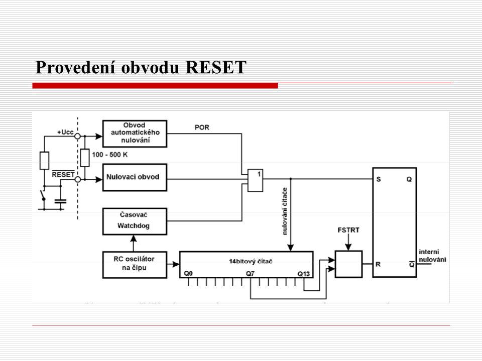 Provedení obvodu RESET