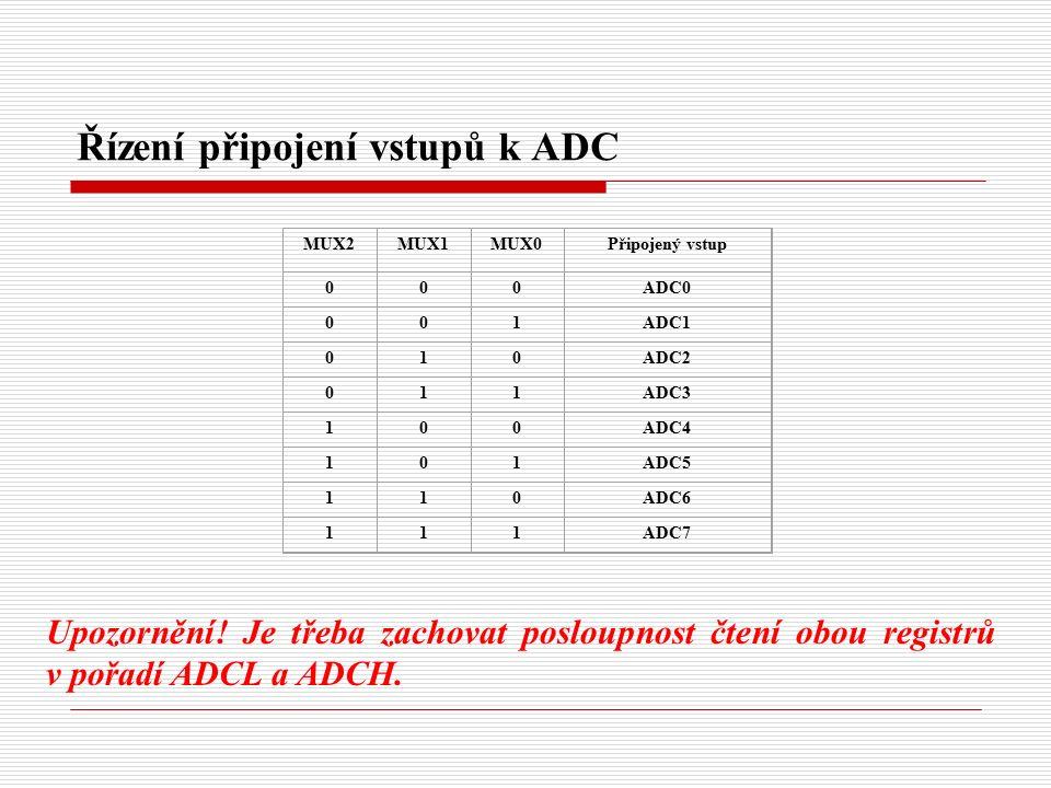 Řízení připojení vstupů k ADC MUX2MUX1MUX0Připojený vstup 000ADC0 001ADC1 010ADC2 011ADC3 100ADC4 101ADC5 110ADC6 111ADC7 Upozornění.