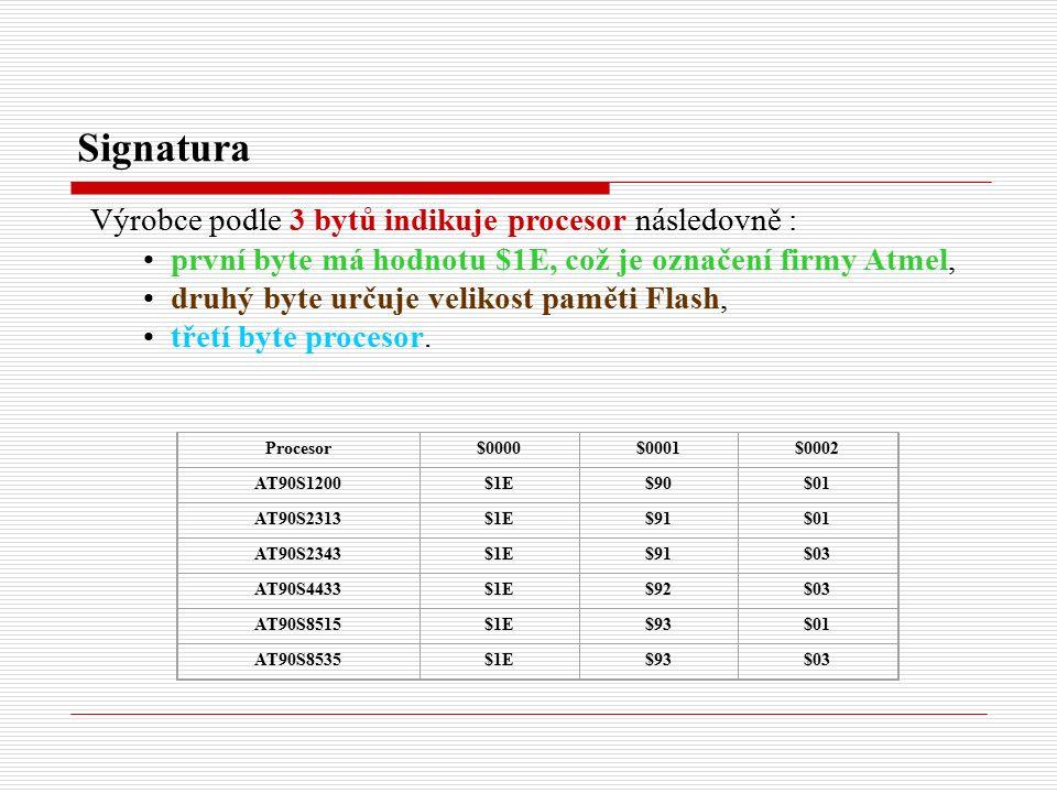 Signatura Výrobce podle 3 bytů indikuje procesor následovně : první byte má hodnotu $1E, což je označení firmy Atmel, druhý byte určuje velikost paměti Flash, třetí byte procesor.