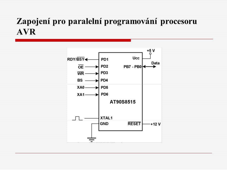 Zapojení pro paralelní programování procesoru AVR