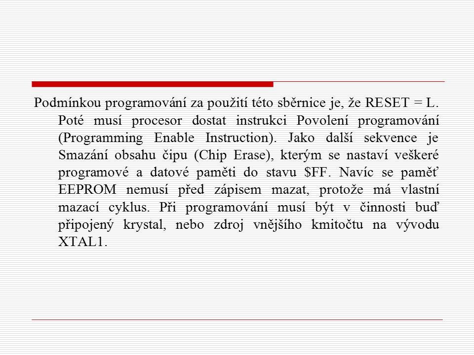 Podmínkou programování za použití této sběrnice je, že RESET = L.