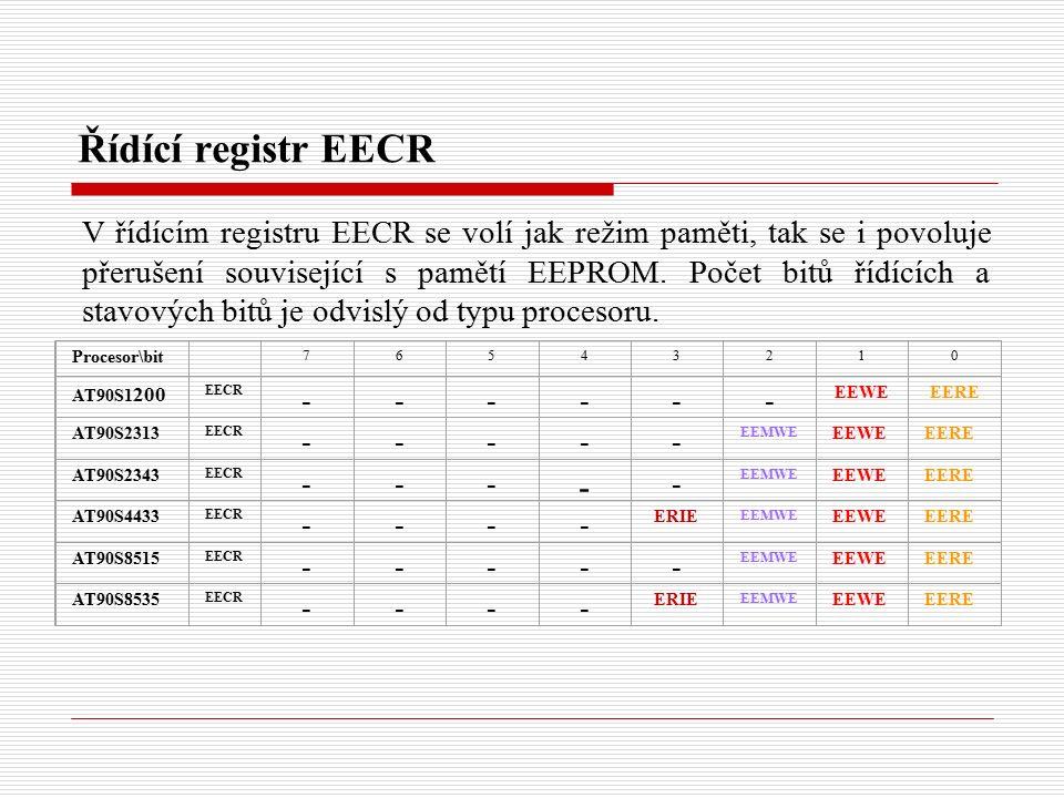 Řídící registr EECR Procesor\bit 76543210 AT90S1 200 EECR ------ EEWEEERE AT90S2313 EECR ----- EEMWE EEWEEERE AT90S2343 EECR --- - - EEMWE EEWEEERE AT90S4433 EECR ---- ERIE EEMWE EEWEEERE AT90S8515 EECR ----- EEMWE EEWEEERE AT90S8535 EECR ---- ERIE EEMWE EEWEEERE V řídícím registru EECR se volí jak režim paměti, tak se i povoluje přerušení související s pamětí EEPROM.