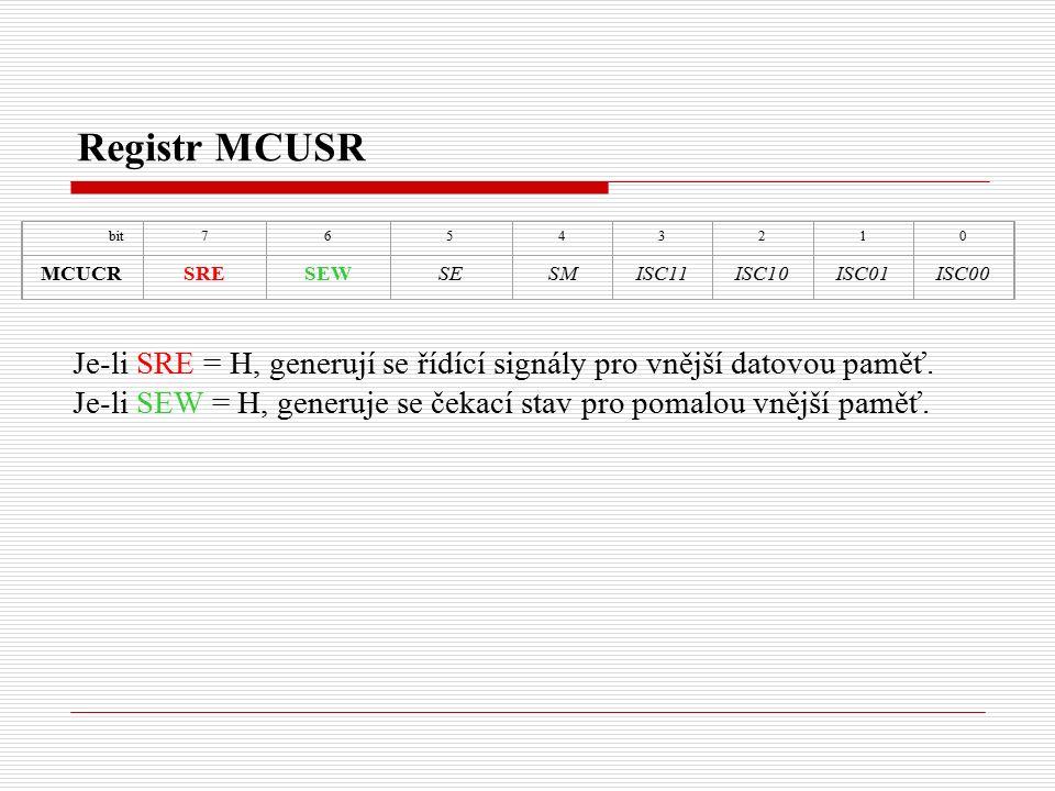 Registr MCUSR Je-li SRE = H, generují se řídící signály pro vnější datovou paměť.