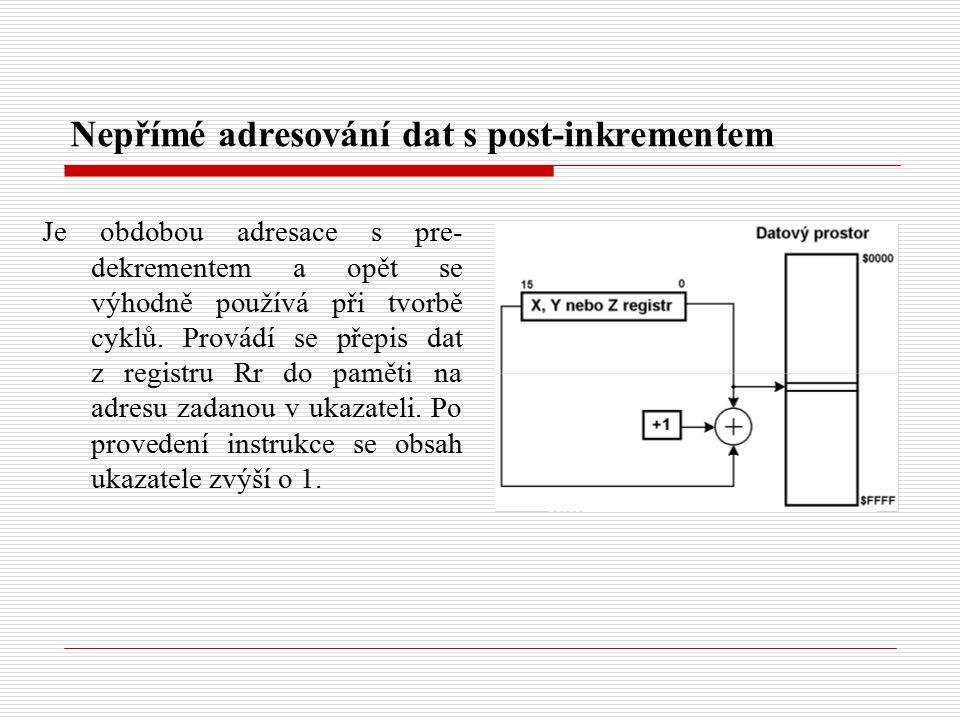 Nepřímé adresování dat s post-inkrementem Je obdobou adresace s pre- dekrementem a opět se výhodně používá při tvorbě cyklů.