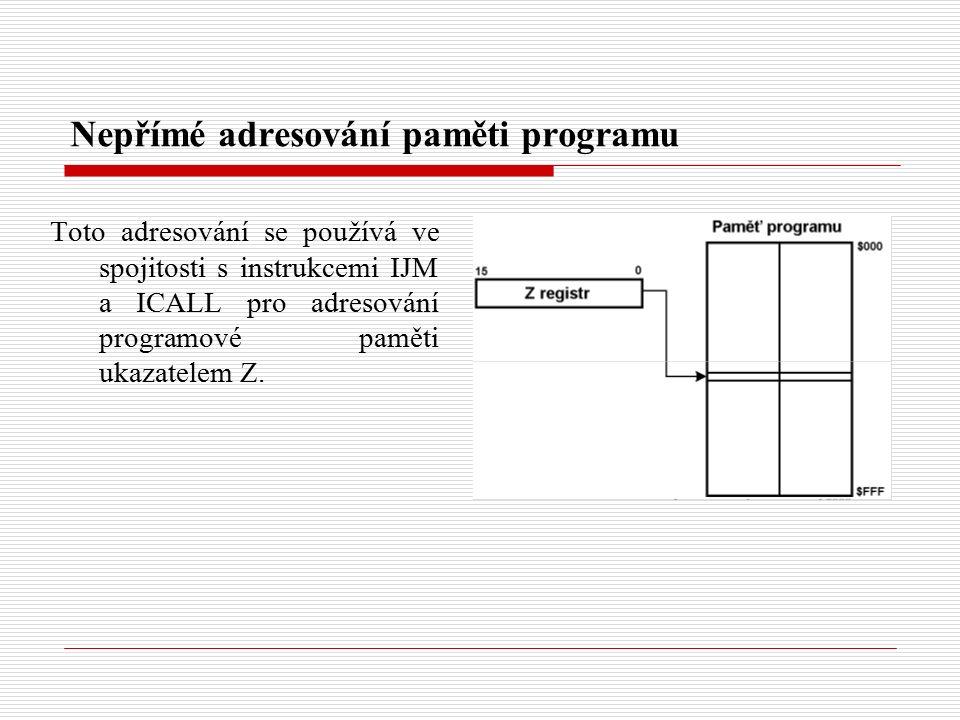 Nepřímé adresování paměti programu Toto adresování se používá ve spojitosti s instrukcemi IJM a ICALL pro adresování programové paměti ukazatelem Z.