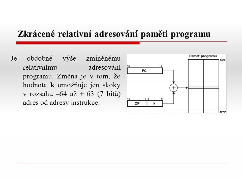 Zkrácené relativní adresování paměti programu Je obdobné výše zmíněnému relativnímu adresování programu.