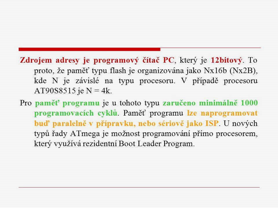 Další signály Mimo signály jednotlivých bran jsou vyvedeny ještě následující signály : ALE - Zápisový impuls do registru nižších řádů adresy ICP - Input Capture (záchytný registr) OC1B - Output Compare 1B (výstupní komparátor 1B) RESET- Nulování procesoru