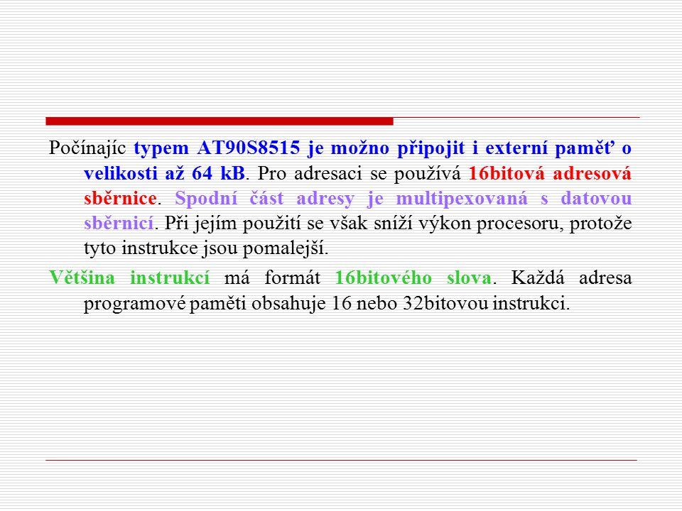 Nepřímé adresování dat Operační znak se doplňuje 5bitovou adresou registru z pole registrů.