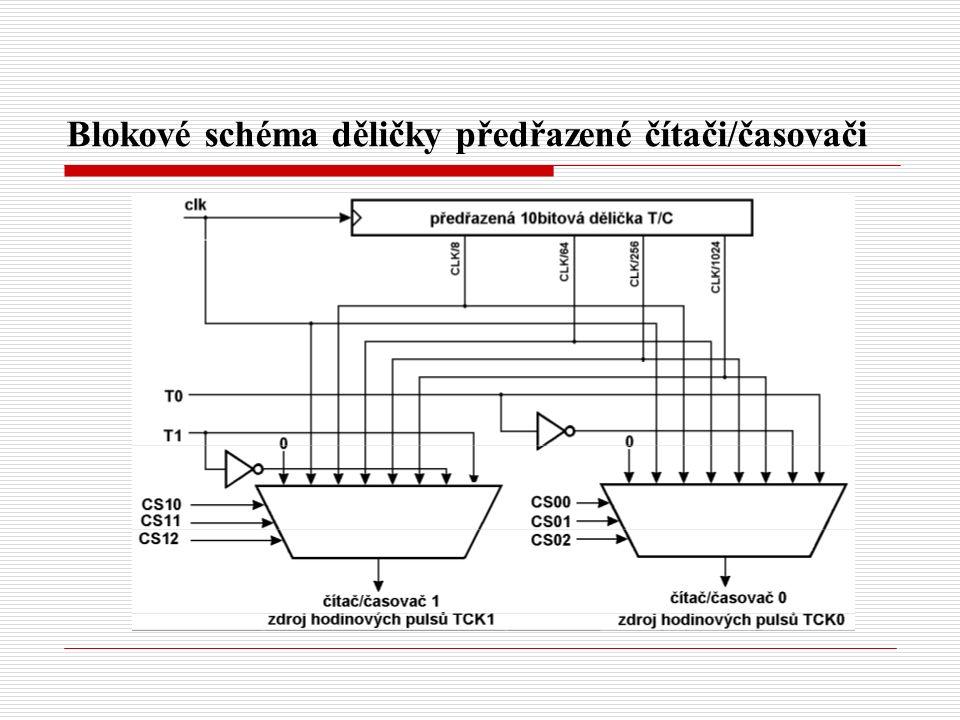 Blokové schéma děličky předřazené čítači/časovači