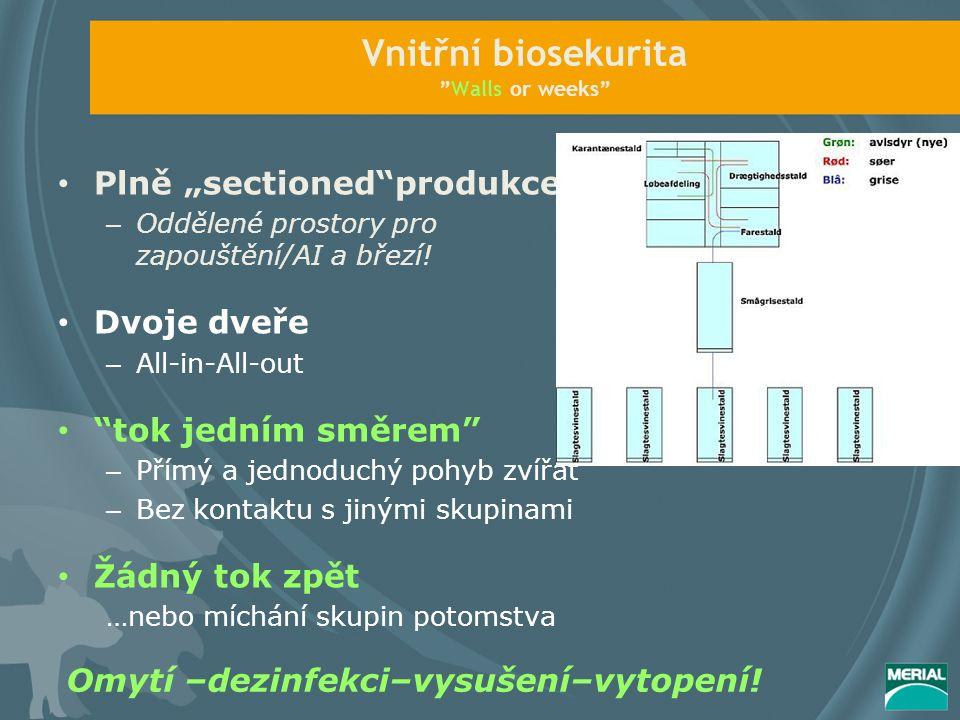 """Vnitřní biosekurita Walls or weeks Plně """"sectioned produkce – Oddělené prostory pro zapouštění/AI a březí."""