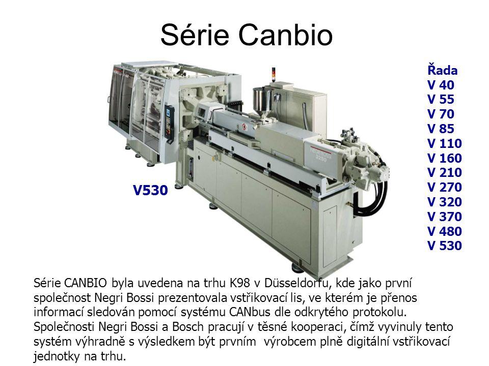 Série Canbio Série CANBIO byla uvedena na trhu K98 v Düsseldorfu, kde jako první společnost Negri Bossi prezentovala vstřikovací lis, ve kterém je přenos informací sledován pomocí systému CANbus dle odkrytého protokolu.