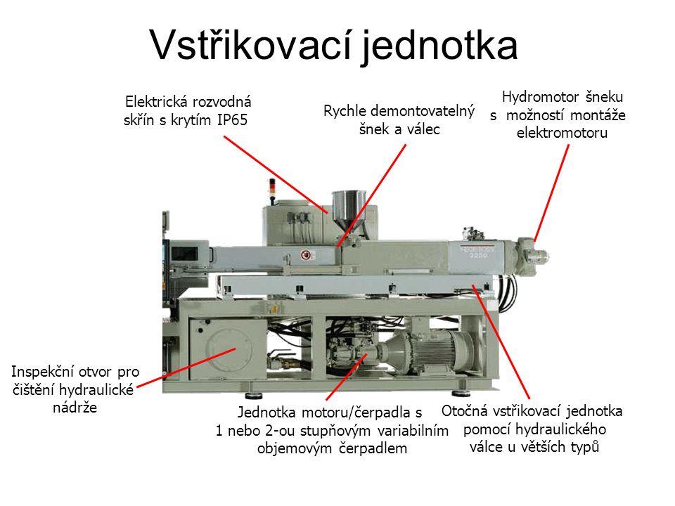 Elektrická rozvodná skřín s krytím IP65 Rychle demontovatelný šnek a válec Hydromotor šneku s možností montáže elektromotoru Inspekční otvor pro čištění hydraulické nádrže Jednotka motoru/čerpadla s 1 nebo 2-ou stupňovým variabilním objemovým čerpadlem Otočná vstřikovací jednotka pomocí hydraulického válce u větších typů Vstřikovací jednotka