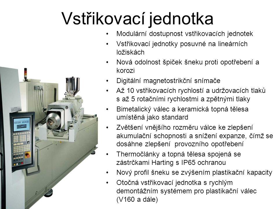 Modulární dostupnost vstřikovacích jednotek Vstřikovací jednotky posuvné na lineárních ložiskách Nová odolnost špiček šneku proti opotřebení a korozi Digitální magnetostrikční snímače Až 10 vstřikovacích rychlostí a udržovacích tlaků s až 5 rotačními rychlostmi a zpětnými tlaky Bimetalický válec a keramická topná tělesa umístěná jako standard Zvětšení vnějšího rozměru válce ke zlepšení akumulační schopnosti a snížení expanze, čímž se dosáhne zlepšení provozního opotřebení Thermočlánky a topná tělesa spojená se zástrčkami Harting s IP65 ochranou Nový profil šneku se zvýšením plastikační kapacity Otočná vstřikovací jednotka s rychlým demontážním systémem pro plastikační válec (V160 a dále)