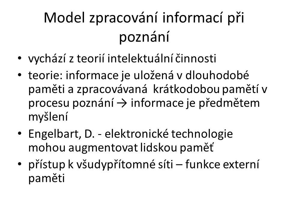 Model zpracování informací při poznání vychází z teorií intelektuální činnosti teorie: informace je uložená v dlouhodobé paměti a zpracovávaná krátkodobou pamětí v procesu poznání → informace je předmětem myšlení Engelbart, D.