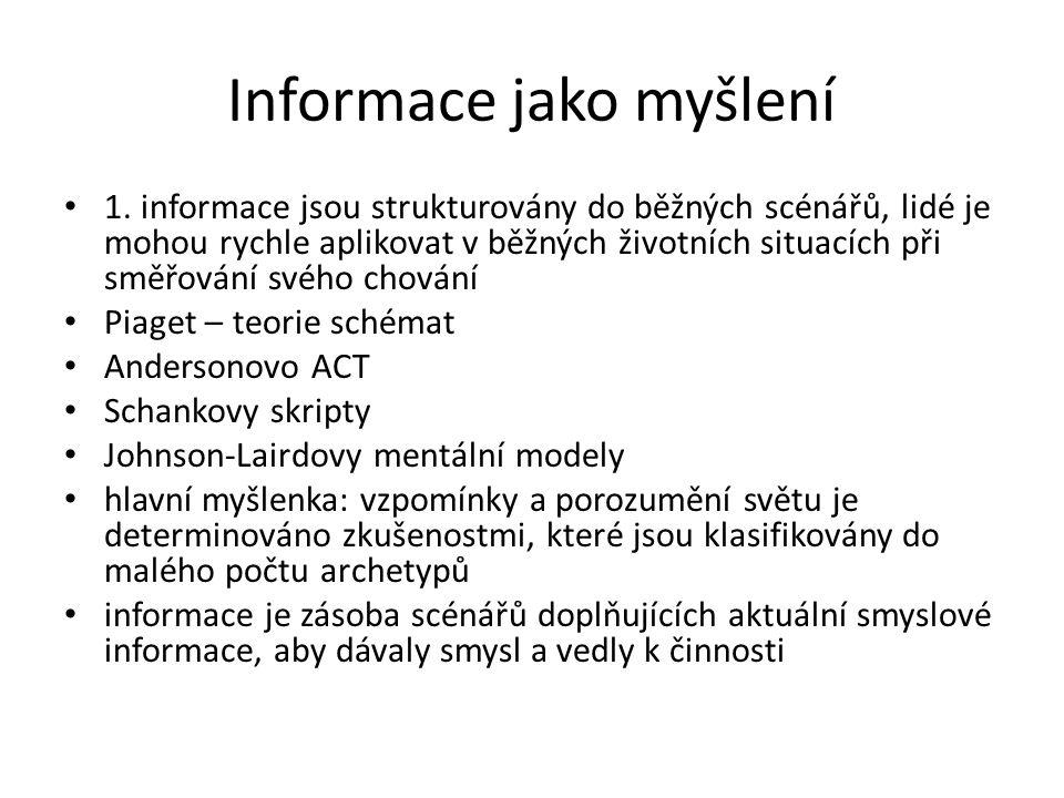 Informace jako myšlení 1.