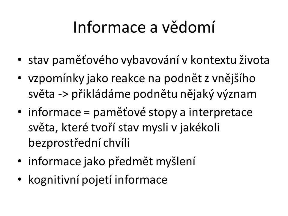 Informace a vědomí věci k mysli externí – ne informace, ale signály, data, fyzické stavy, informační artefakty př.