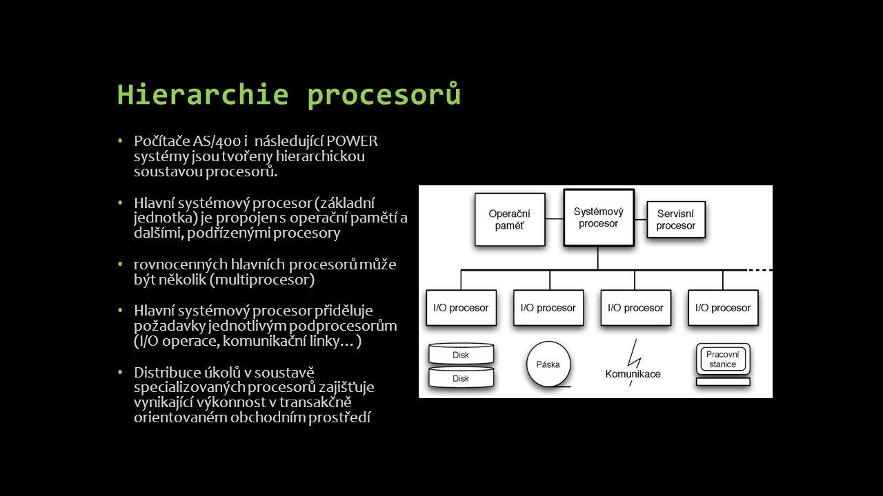 Hierarchie procesorů Počítače AS/400 i následující POWER systémy jsou tvořeny hierarchickou soustavou procesorů. Hlavní systémový procesor (základní j