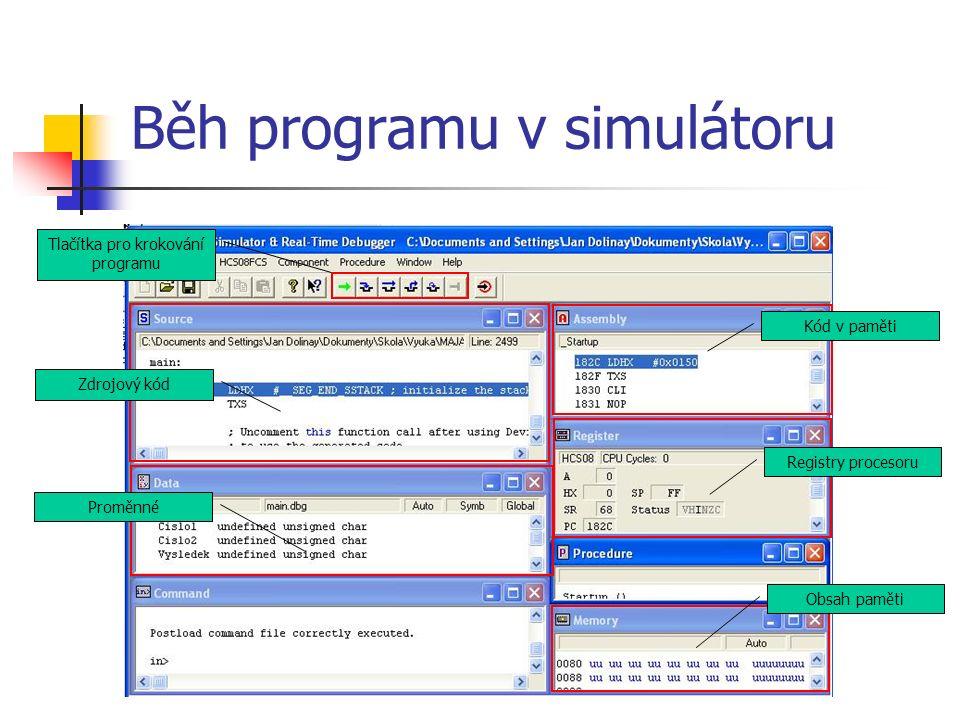 Běh programu v simulátoru Tlačítka pro krokování programu Zdrojový kód Proměnné Kód v paměti Registry procesoru Obsah paměti