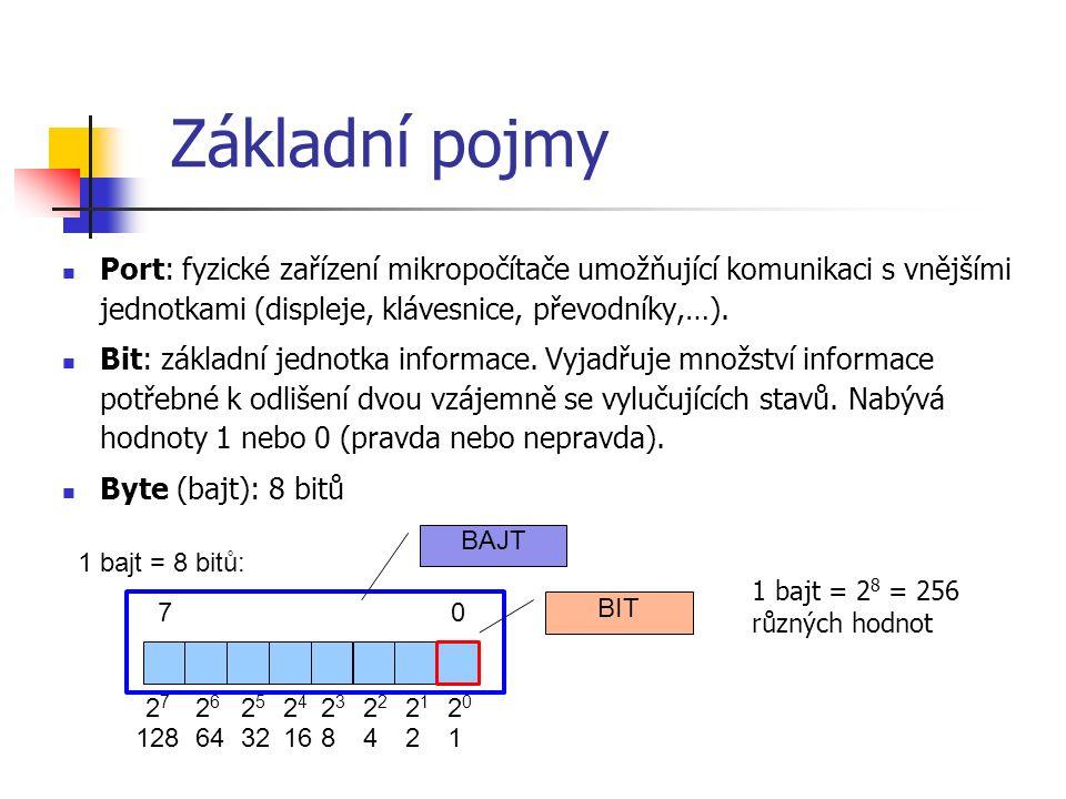 Základní pojmy Port: fyzické zařízení mikropočítače umožňující komunikaci s vnějšími jednotkami (displeje, klávesnice, převodníky,…).