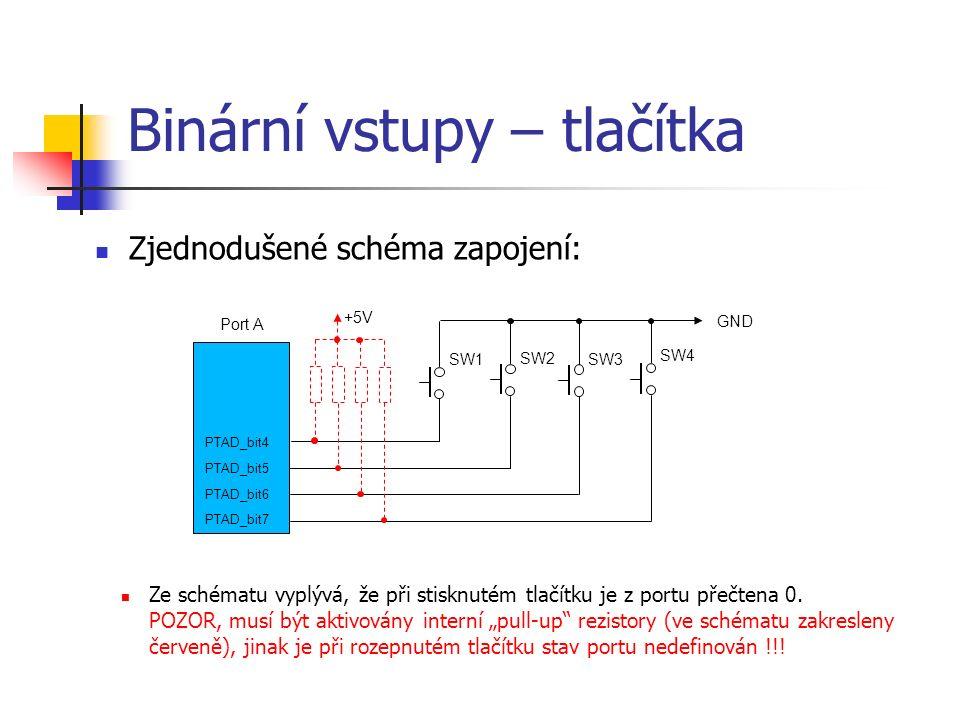 Binární vstupy – tlačítka Zjednodušené schéma zapojení: Ze schématu vyplývá, že při stisknutém tlačítku je z portu přečtena 0.