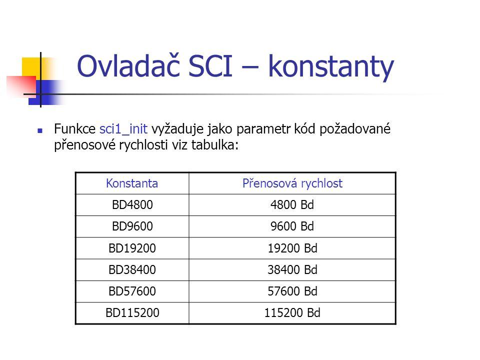 Ovladač SCI – konstanty Funkce sci1_init vyžaduje jako parametr kód požadované přenosové rychlosti viz tabulka: KonstantaPřenosová rychlost BD48004800 Bd BD96009600 Bd BD1920019200 Bd BD3840038400 Bd BD5760057600 Bd BD115200115200 Bd