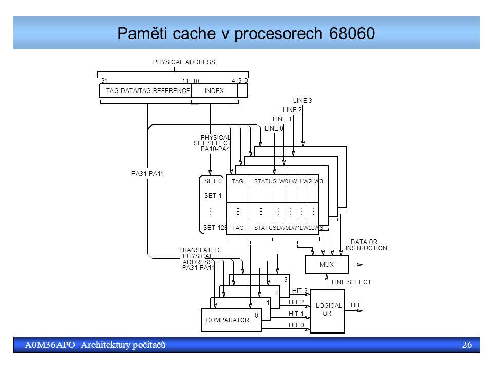 26A0M36APO Architektury počítačů Paměti cache v procesorech 68060
