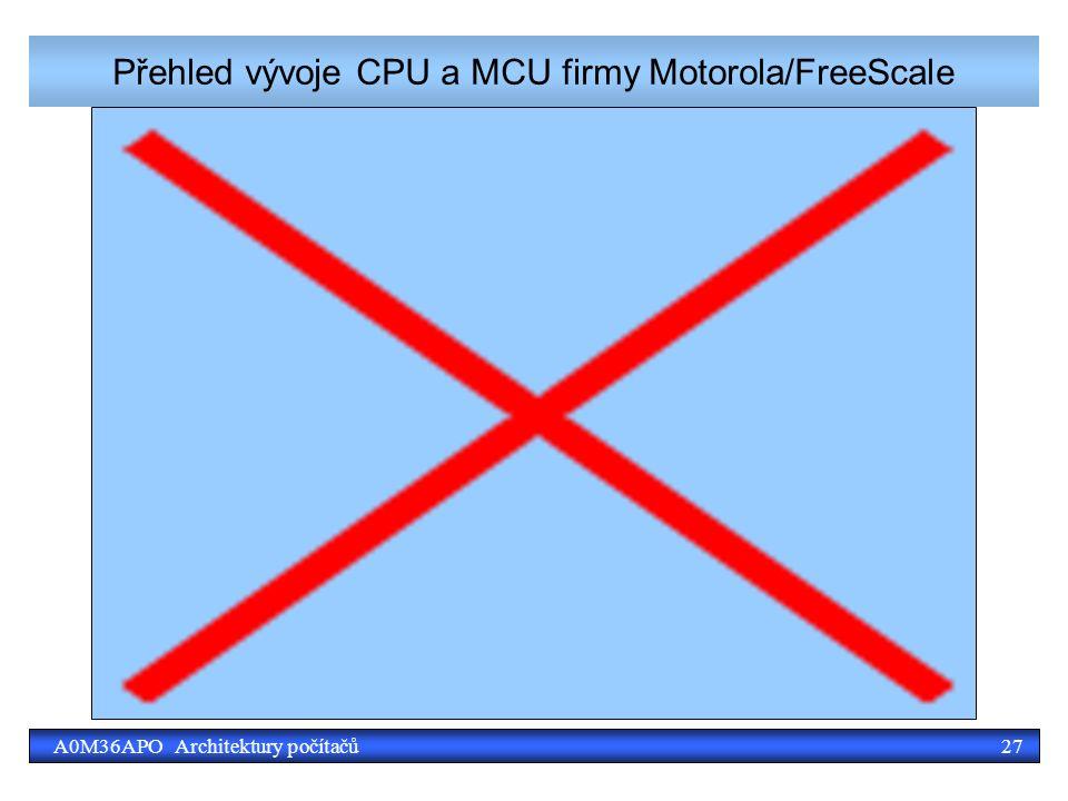 27A0M36APO Architektury počítačů Přehled vývoje CPU a MCU firmy Motorola/FreeScale