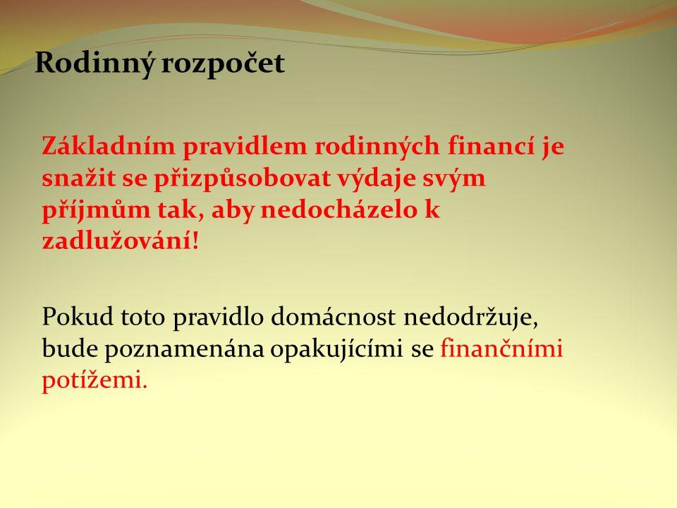 Rodinný rozpočet Základním pravidlem rodinných financí je snažit se přizpůsobovat výdaje svým příjmům tak, aby nedocházelo k zadlužování.