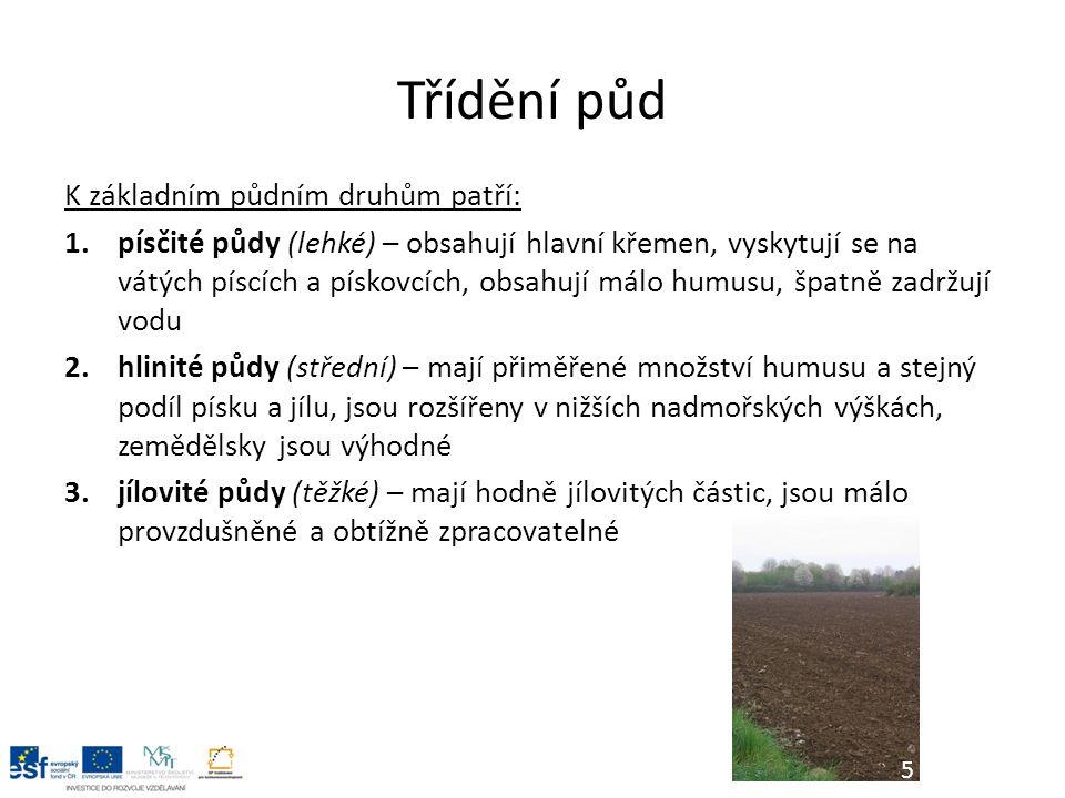 Třídění půd K základním půdním druhům patří: 1.písčité půdy (lehké) – obsahují hlavní křemen, vyskytují se na vátých píscích a pískovcích, obsahují málo humusu, špatně zadržují vodu 2.hlinité půdy (střední) – mají přiměřené množství humusu a stejný podíl písku a jílu, jsou rozšířeny v nižších nadmořských výškách, zemědělsky jsou výhodné 3.jílovité půdy (těžké) – mají hodně jílovitých částic, jsou málo provzdušněné a obtížně zpracovatelné 5