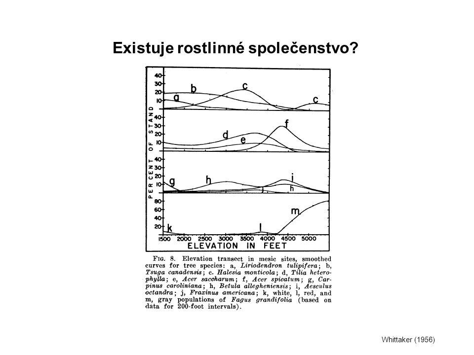 Whittaker (1956) Existuje rostlinné společenstvo?