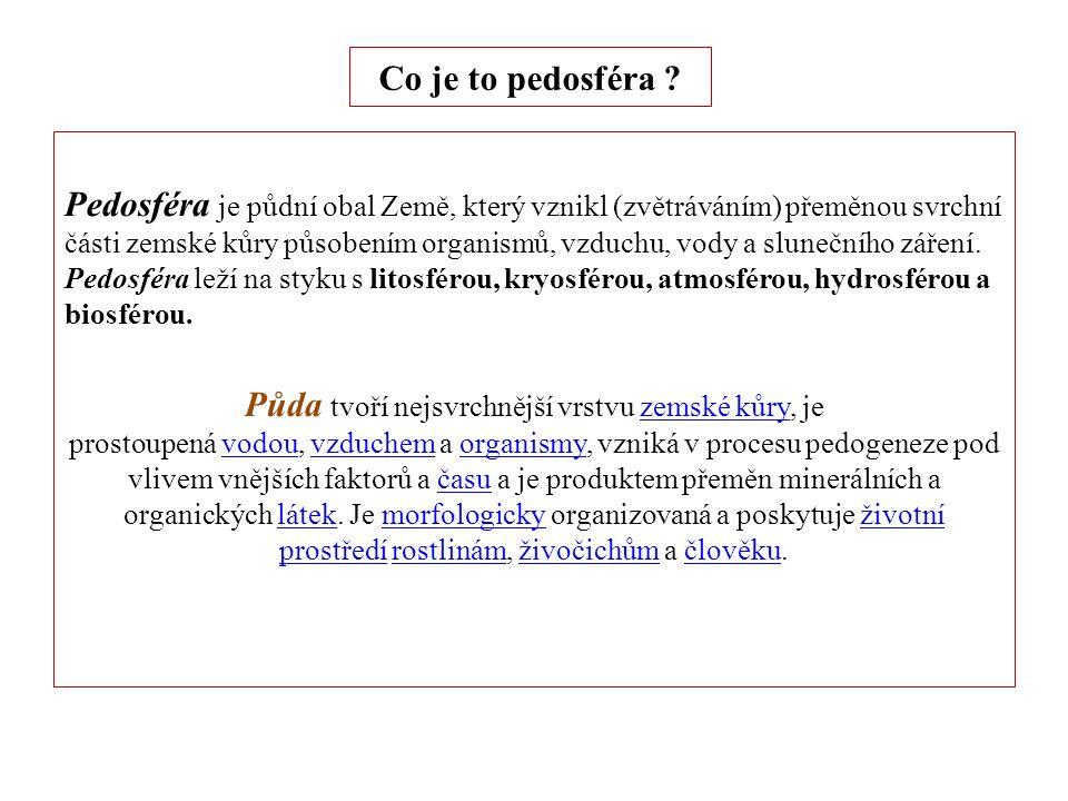 Pedosféra Pedosféra (z řeckého slova pedon = půda) je půdní obal Země nacházející se na povrchu litosféry.