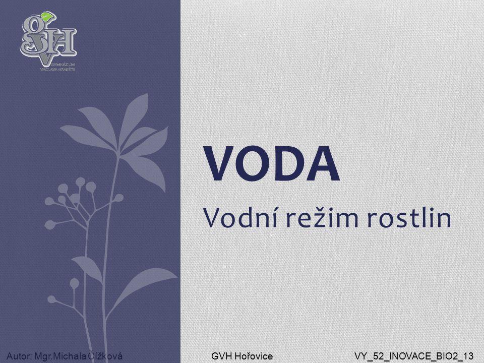 GVH HořoviceAutor: Mgr.Michala ČížkováVY_52_INOVACE_BIO2_13 Vodní režim rostlin VODA