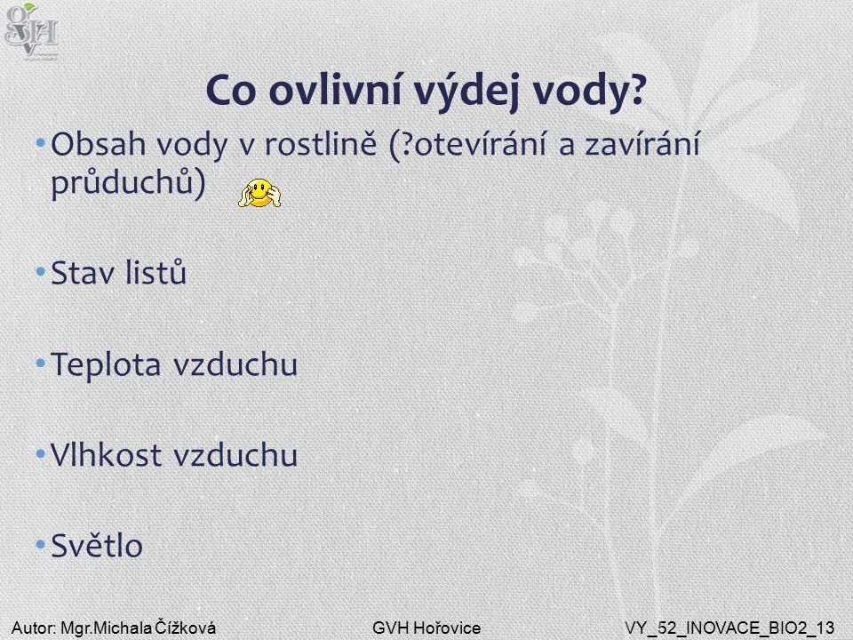 GVH HořoviceAutor: Mgr.Michala ČížkováVY_52_INOVACE_BIO2_13 Co ovlivní výdej vody? Obsah vody v rostlině (?otevírání a zavírání průduchů) Stav listů T